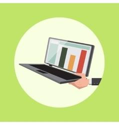 Hand hold laptop cartoon vector image