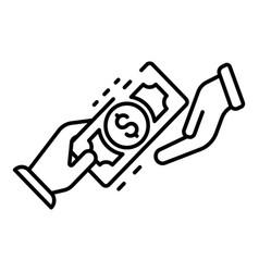hand money exchange icon outline style vector image