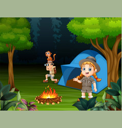 happy children camping out in a forest vector image