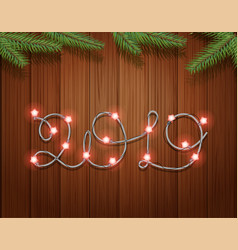 happy new 2019 year greeting card with garland vector image