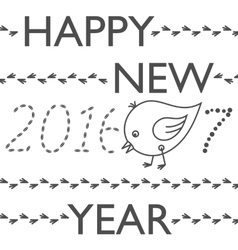 Happy New Year 2017 funny card Year of Rooster vector image