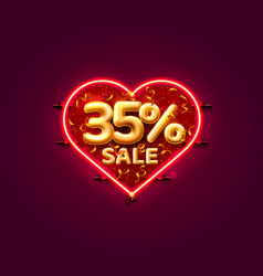 Heart sale 35 off ballon number on white vector