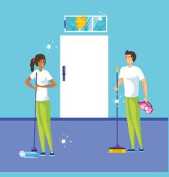Housekeeping couple working indoor home vector