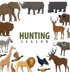 hunting season poster of wild animal and bird vector image