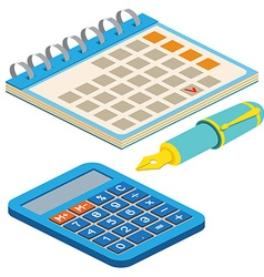 Isometric fountain pen calendar and calculator on vector image