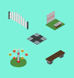 Isometric urban set of swing attraction barricade vector