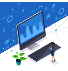 isometric woman business lady virtual screen vector image