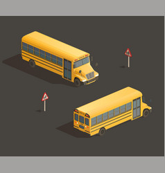 isometric yellow school bus vector image