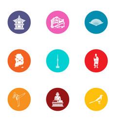 Karateka icons set flat style vector