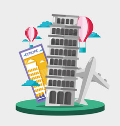 Leaning tower of pisa with air balloon vector
