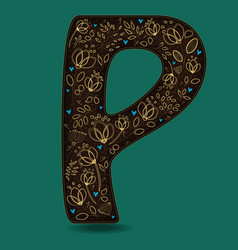 letter p with golden floral decor vector image