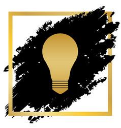 Light lamp sign golden icon at black spot vector