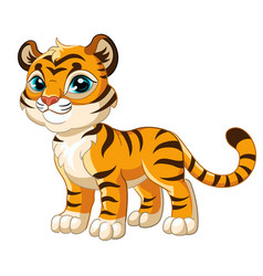 Little cute funny standing smiling tiger vector