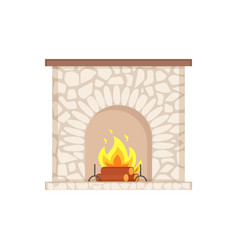 Luxury bonfire flame and logs home interior vector