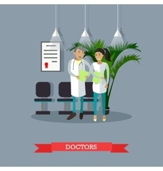 Male and female doctor talking in hospital vector