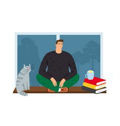 man resting at home vector image