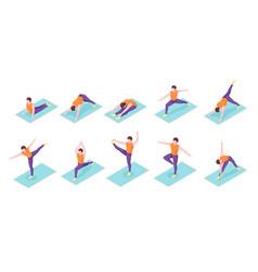 man yoga poses boy fitness exercise isometric vector image