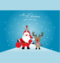 merry christmas and happy new year with cute vector image