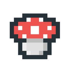 mushroom pixel art icon vector image