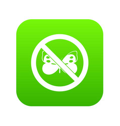 No butterfly sign icon digital green vector