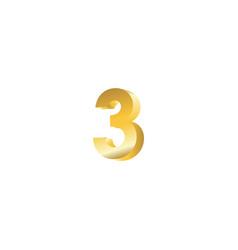 number 3 3d template design vector image