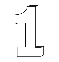 Number one font isolated black and white vector