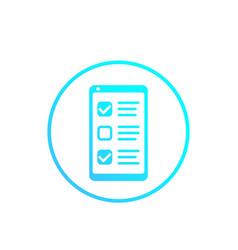 Online survey form in phone feedback icon vector