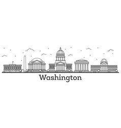 Outline washington dc usa city skyline with vector