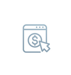 pay per click linear icon on white vector image