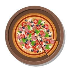 Pizza on a plate Isolated on vector image