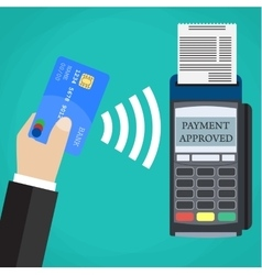 Pos terminal confirms the payment by debit card vector image