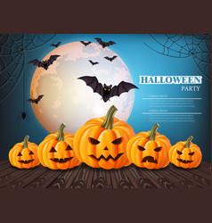 Pumpkins halloween card full moon on vector