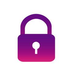 Purple lock close icon vector