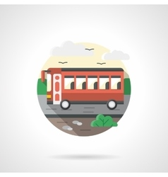 Red bus flat color detailed icon vector