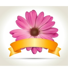 Ribbon with flower vector image