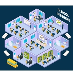 School isometric interior vector image