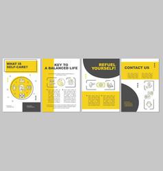 Self care brochure template vector