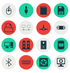 Set of 16 computer hardware icons includes memory vector