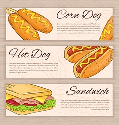 Set of hand drawn fast food banners with corn dog vector