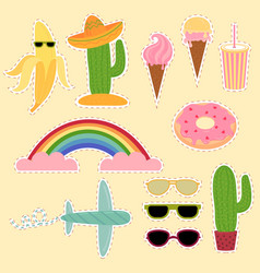 set of mexico and travel stickers flat vector image