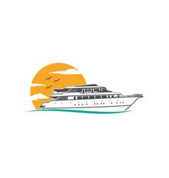 ship sea cruise logo ocean icon nautical marine vector image