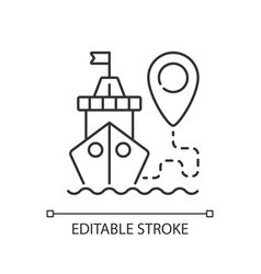 Ship tracking linear icon vector