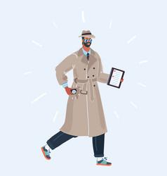 Spy man in coat and hat vector