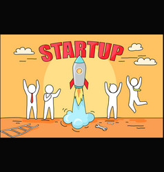 startup big image and rocket vector image