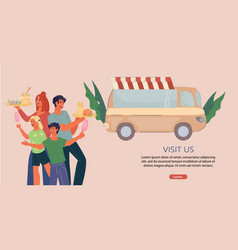 street food festival landing page with food truck vector image