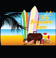 Summer time with surfboard and stuff four vector