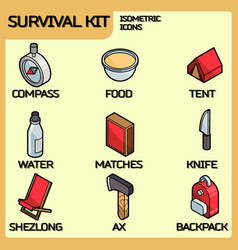 Survival kit color outline isometric icons vector