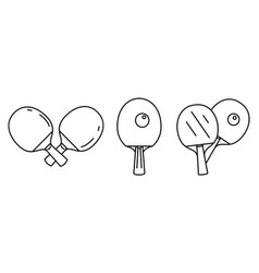table tennis sport icons set outline style vector image