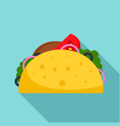 taco food icon flat style vector image
