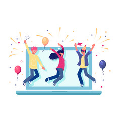 Team celebrating completion internet project vector